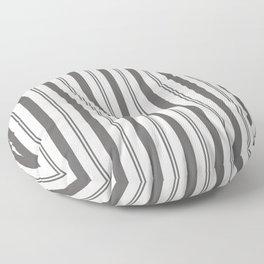 Pantone Pewter Gray & White Wide & Narrow Vertical Lines Stripe Pattern Floor Pillow