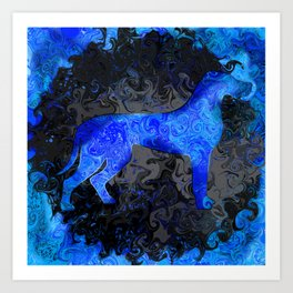 Great Dane Silhouette Swirl Art Print