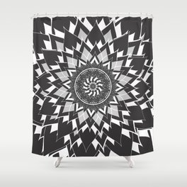 GREY, BLACK AND WHITE FLOWER OF LIFE Shower Curtain