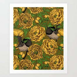 Peonies and wrens Art Print