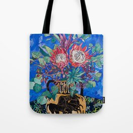 Painterly Bouquet of Proteas in Greek Horse Urn on Blue Tote Bag