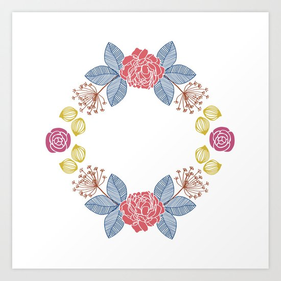 Hand Drawn Floral Wreath Design Art Print