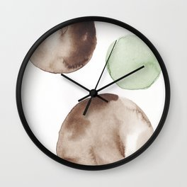 2 |181104 Australian Leaf Green & Brown Earth Orbs | Watercolour Circle Abstract Geometrical Wall Clock