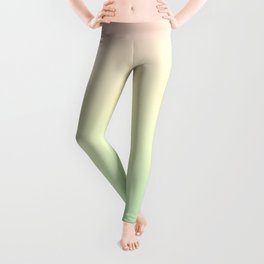 Gradient Pastel Ombre Neo Mint Yellow Pink Millennial Pale Pattern Spring Cute Soft Unicorn Texture Leggings