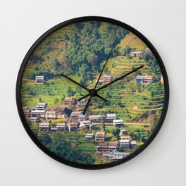 TERRACED HIMALAYAN FOOTHILLS VILLAGE IN NEPAL Wall Clock