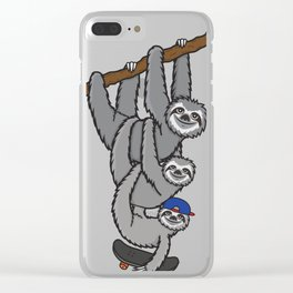 Sloth Skater Boy Clear iPhone Case