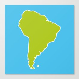 South America map blue ocean and green continent. Vector illustration Canvas Print