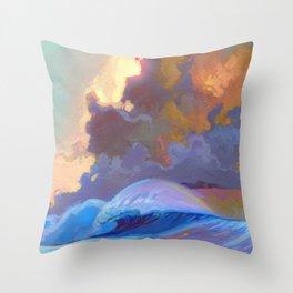 Sunset surf break Throw Pillow
