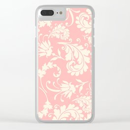Vintage pink ivory chic floral damask pattern Clear iPhone Case
