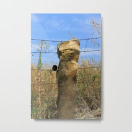 Kansas Stone Post Fence with barbwire and Lizard on top of Stone Post. Metal Print