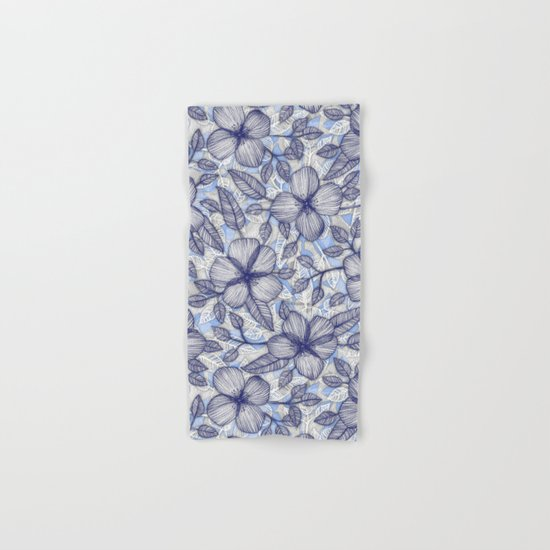 Indigo Summer - a hand drawn floral pattern Hand & Bath Towel