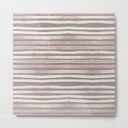 Simply Shibori Stripes Lunar Gray and Red Earth Metal Print