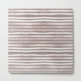 Simply Shibori Stripes Lunar Gray and Red Earth Metal Print