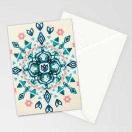 Watercolor Lotus Mandala in Teal & Salmon Pink Stationery Cards