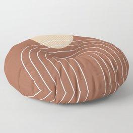 Mid Century Modern Geometric 3 (Terrocatta and beige) Floor Pillow