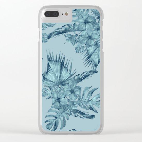 Hawaiian Blue Teal Island Pattern Clear iPhone Case