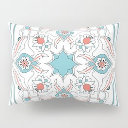 Turquoise Floral Tile Art Pillow Sham