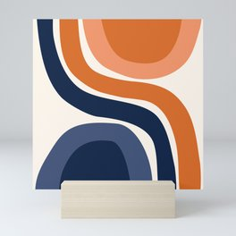 Abstract Shapes 31 in Burnt Orange and Navy Blue Mini Art Print