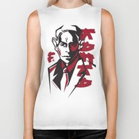 kafka Biker Tanks featuring Kafka portrait in Red & Black by aygeartist