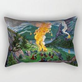 Tyrol Alpine River Valley Bonfires of the Summer Solstice landscape painting by Nikolai Astrup Rectangular Pillow