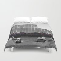 blackhawks Duvet Covers featuring Chicago Blackhawks 2013 Championship Parade Route by Michael A. Hubatch
