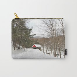 Red covered bridge in a snowy mountain landscape Carry-All Pouch