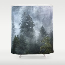 Smoky Redwood Forest Foggy Woods - Nature Photography Shower Curtain
