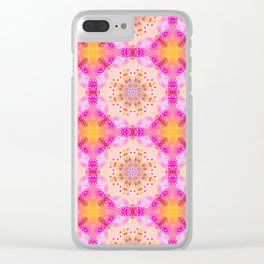 Doily Mandala Kaleidoscope Pattern in Bight Pink and Yellow Clear iPhone Case
