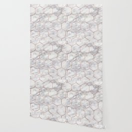 Marble rose gold hexagons Wallpaper