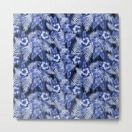 Hula Hibiscus Dark Blue Metal Print
