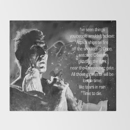 Like tears in rain - black - quote Throw Blanket