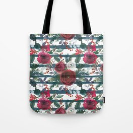 Festive Red Floral Arrangement on White with Green Stripes  Tote Bag