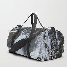 Winter Waterfall II - Pacific Northwest Nature Photography Duffle Bag