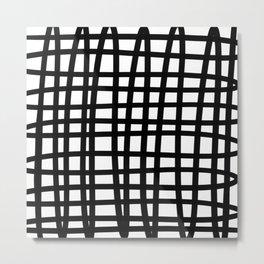 Black and white doodle stripes Metal Print