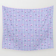 Gingham flowers Wall Tapestry