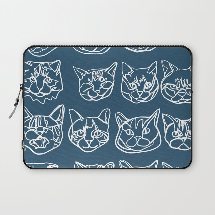 Blue and White Silly Kitty Faces Laptop Sleeve