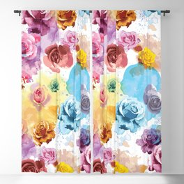 Watercolor Roses Blackout Curtain