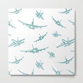 Teal Airplanes Metal Print
