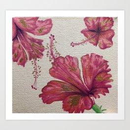 Hibiscus Trio Art Print