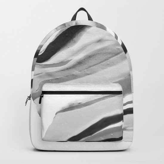 Shadow of Ourselves Marbling Marble Circle World Black and White Backpack