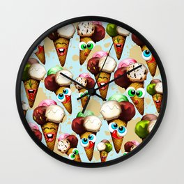 Ice Cream Cones Cartoon Pattern Wall Clock