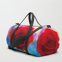 Red Rose and Rainbow Bokeh Duffle Bag