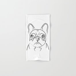 Frenchie Line Drawing Hand & Bath Towel