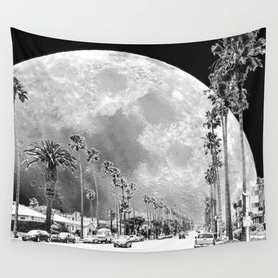 California Dream // Fantasy Moon Beach Sidewalk Black and White Palm Tree Silhouette Collage Artwork by nononsense