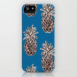 Gold Pineapples on teal iPhone Case