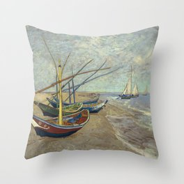 Fishing boats on the beach at Les Saintes-Maries-de-la-Mer Throw Pillow