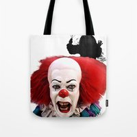pennywise Tote Bags featuring Pennywise the Clown: Monster Madness Series by SB Art Productions