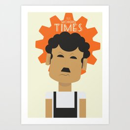 Charlie Chaplin, Modern Times, minimal movie poster, classic film, Charlot, Hollywood Art Print