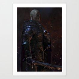 Knight-Captain - Black Art Print