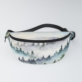 Misty Mountain Pines - Foggy Forest Watercolor Painting Fanny Pack